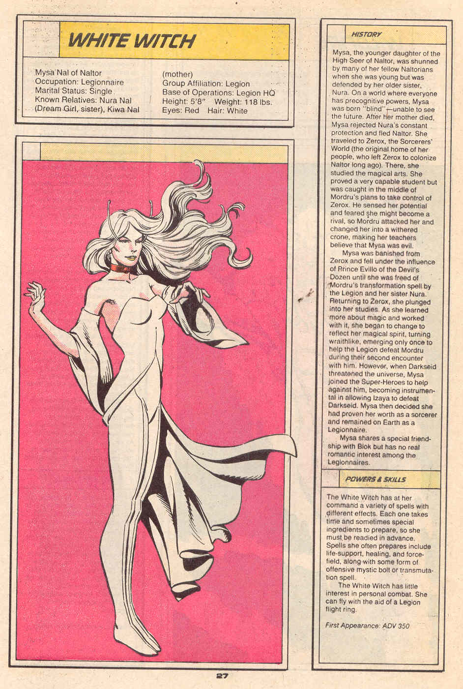 White Witch by Jose Villarrubia and Karl Kesel - Who's Who in the Legion of Super-Heroes #7