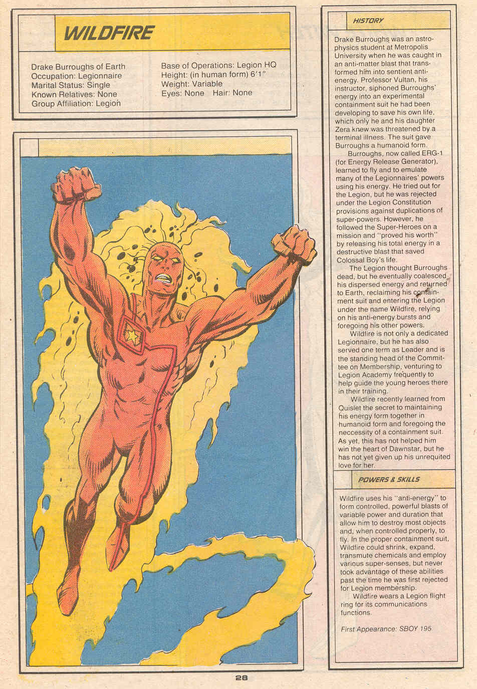 Wildfire by Kerry Gammill and Kez Wilson - Who's Who in the Legion of Super-Heroes #7