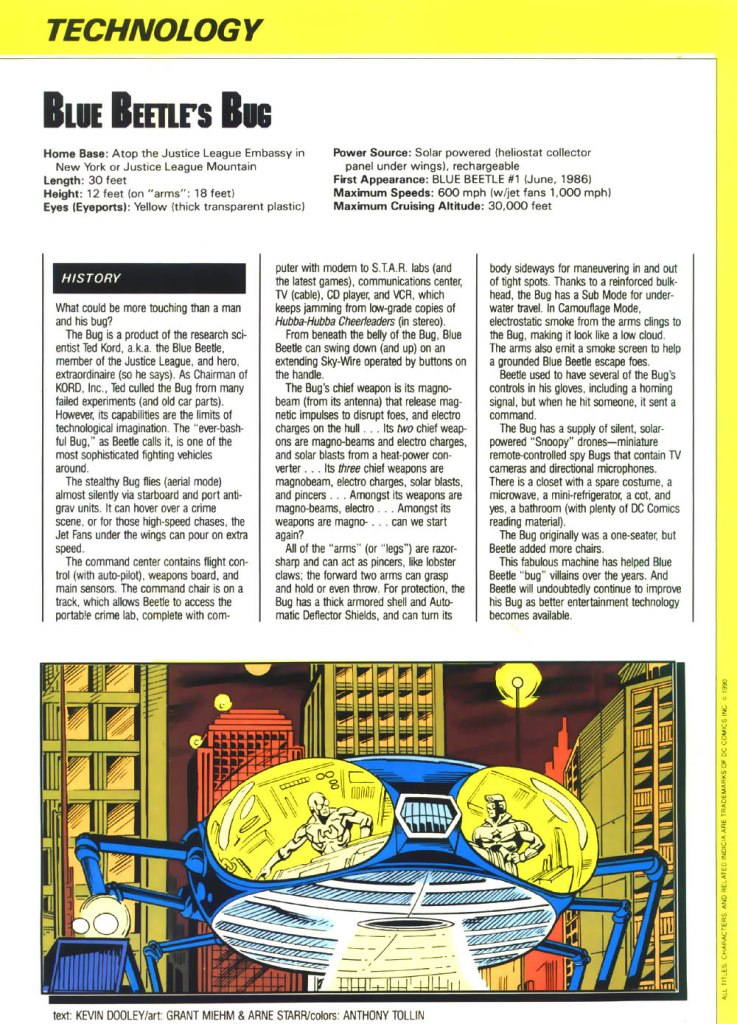 Who's Who in the DC Universe #1 - Blue Beetle's Bug - text by Kevin Dooley, with art by Grant Miehm and Arne Starr