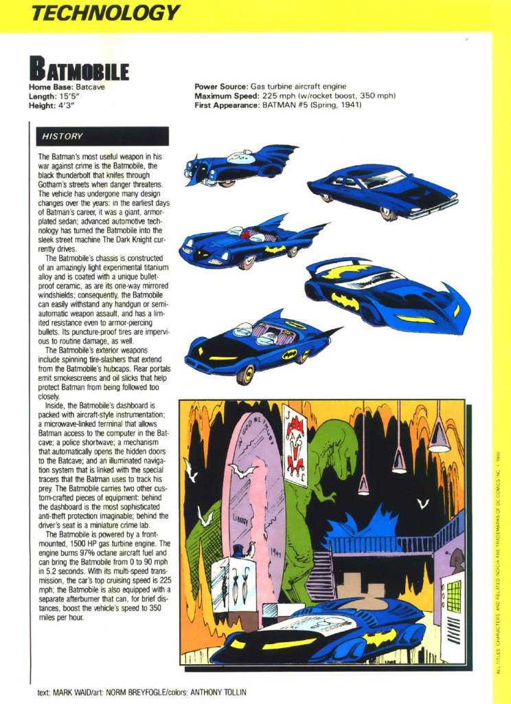 Batmobile backside written by Mark Waid with art by Norm Breyfogle