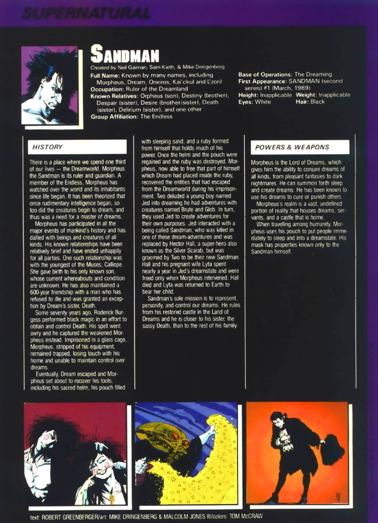 Sandman backside written by Robert Greenberger with art by Mike Dringenberg and Malcolm Jones III