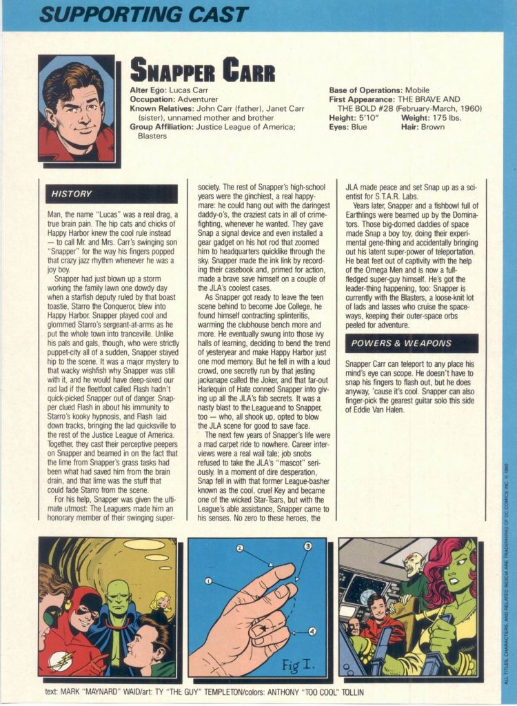 "Who's Who in the DC Universe #6 - Snapper Carr - written by Mark ""Maynard"" Waid with art by Ty ""The Guy"" Templeton"