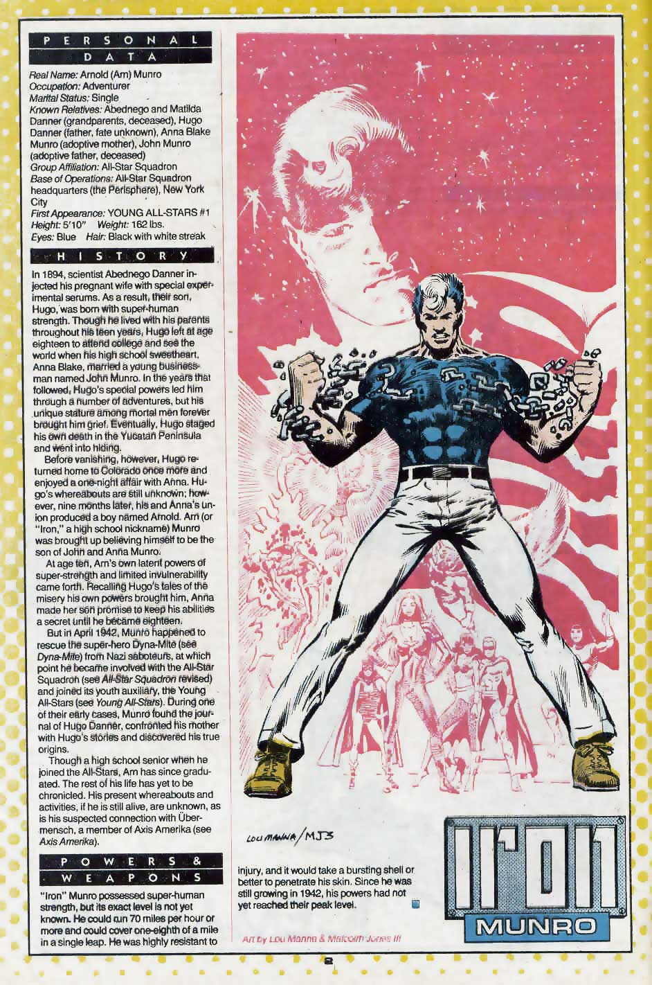 Who's Who Update 88 #2 Iron Munro by Larry Manna and Malcolm Jones III