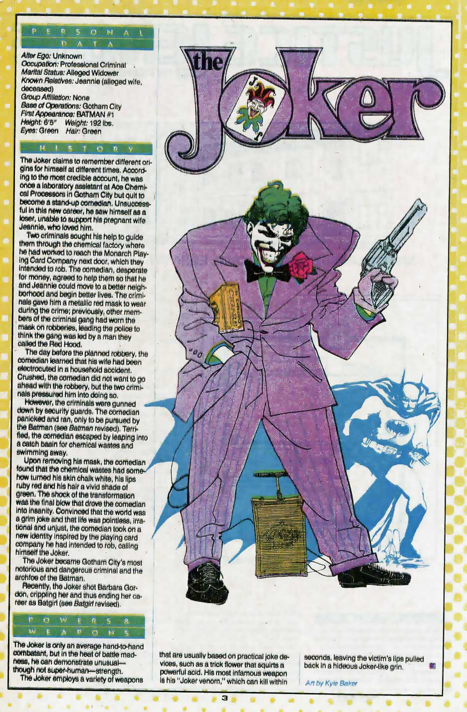 Who's Who Update 88 #2 The Joker by Kyle Baker