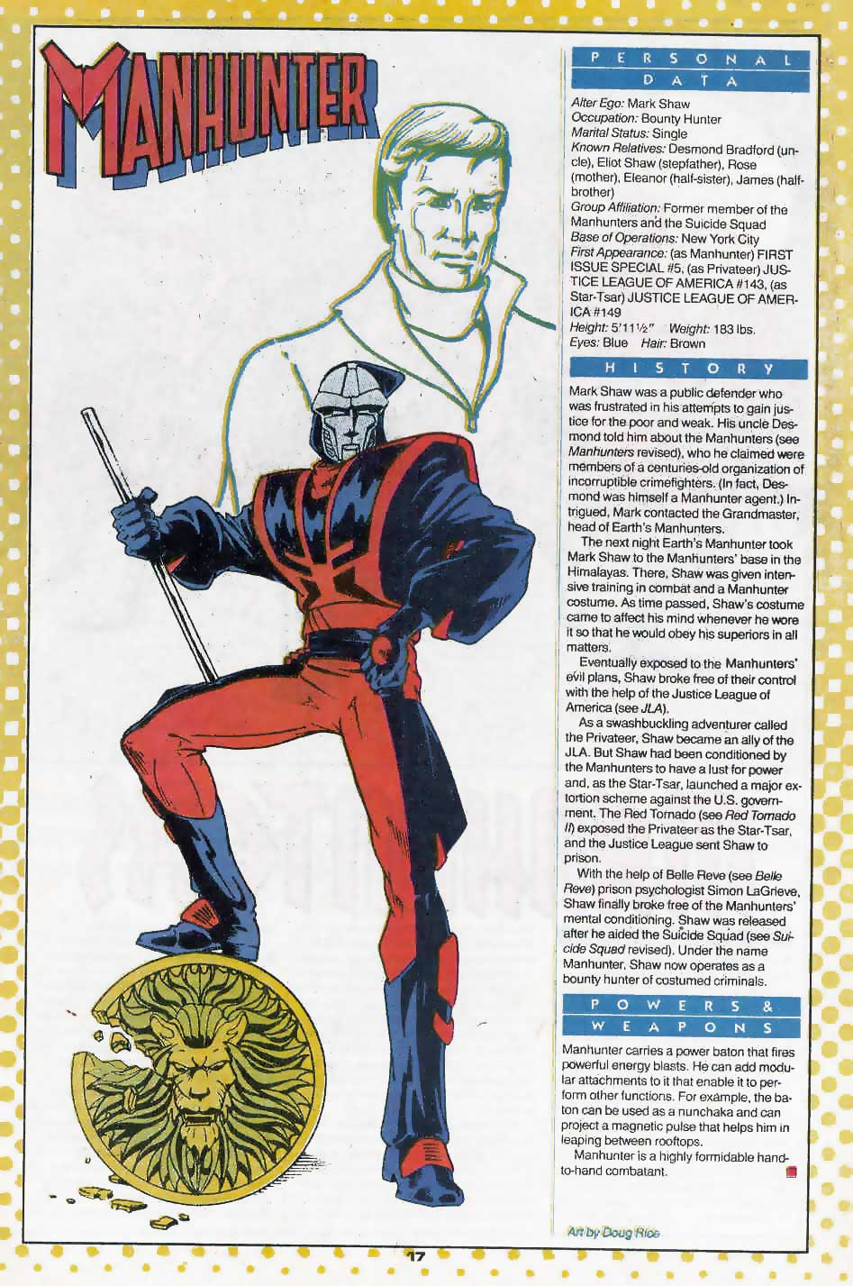 Who's Who Update 88 #2 Manhunter by Doug Rice