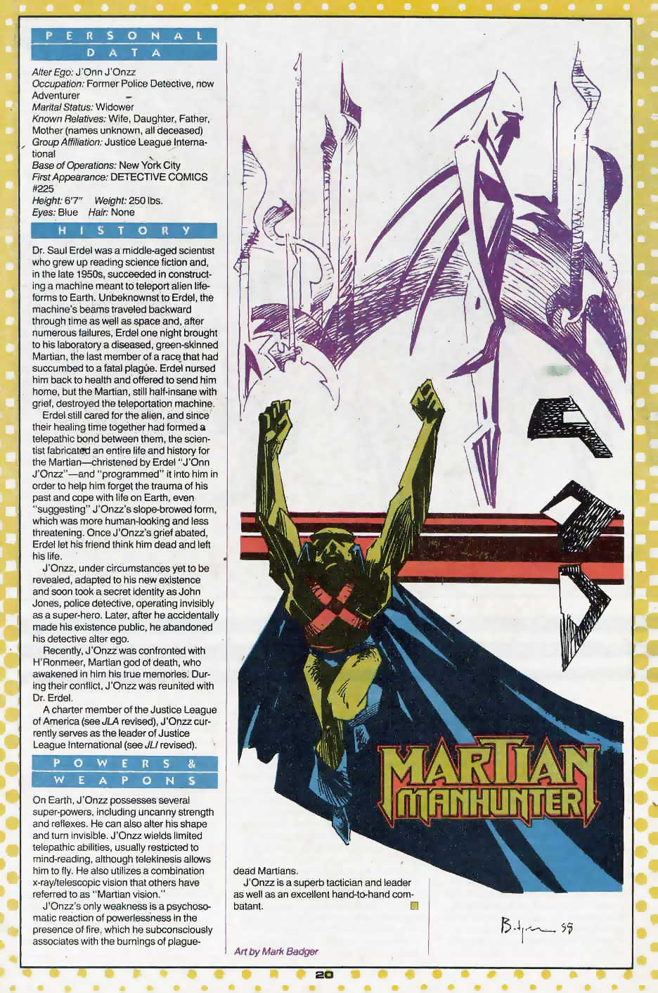 Who's Who Update 88 #2 Martian Manhunter by Mark Badger