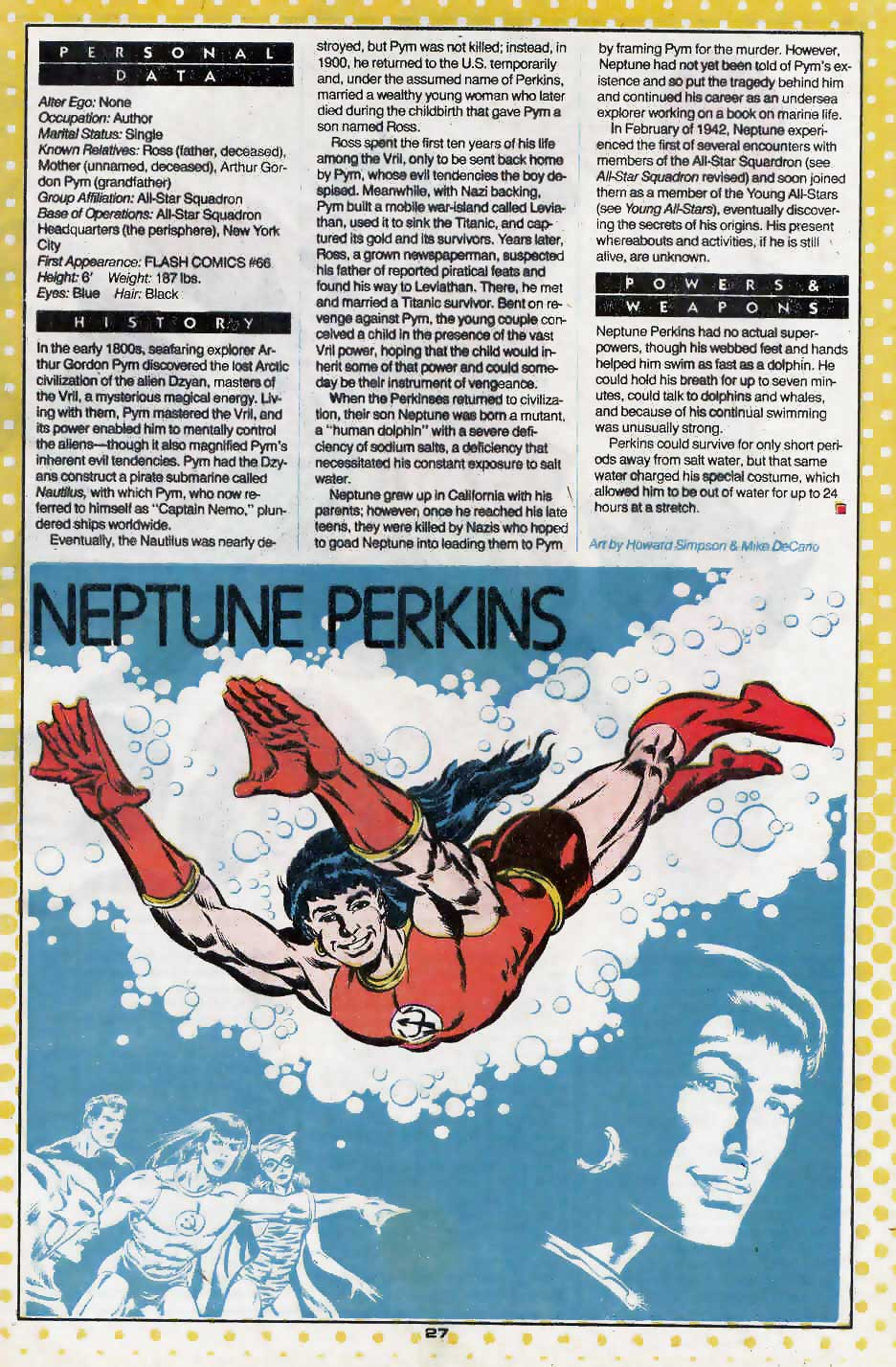 Who's Who Update 88 #2 Neptune Perkins by Howard Simpson and Mike DeCarlo