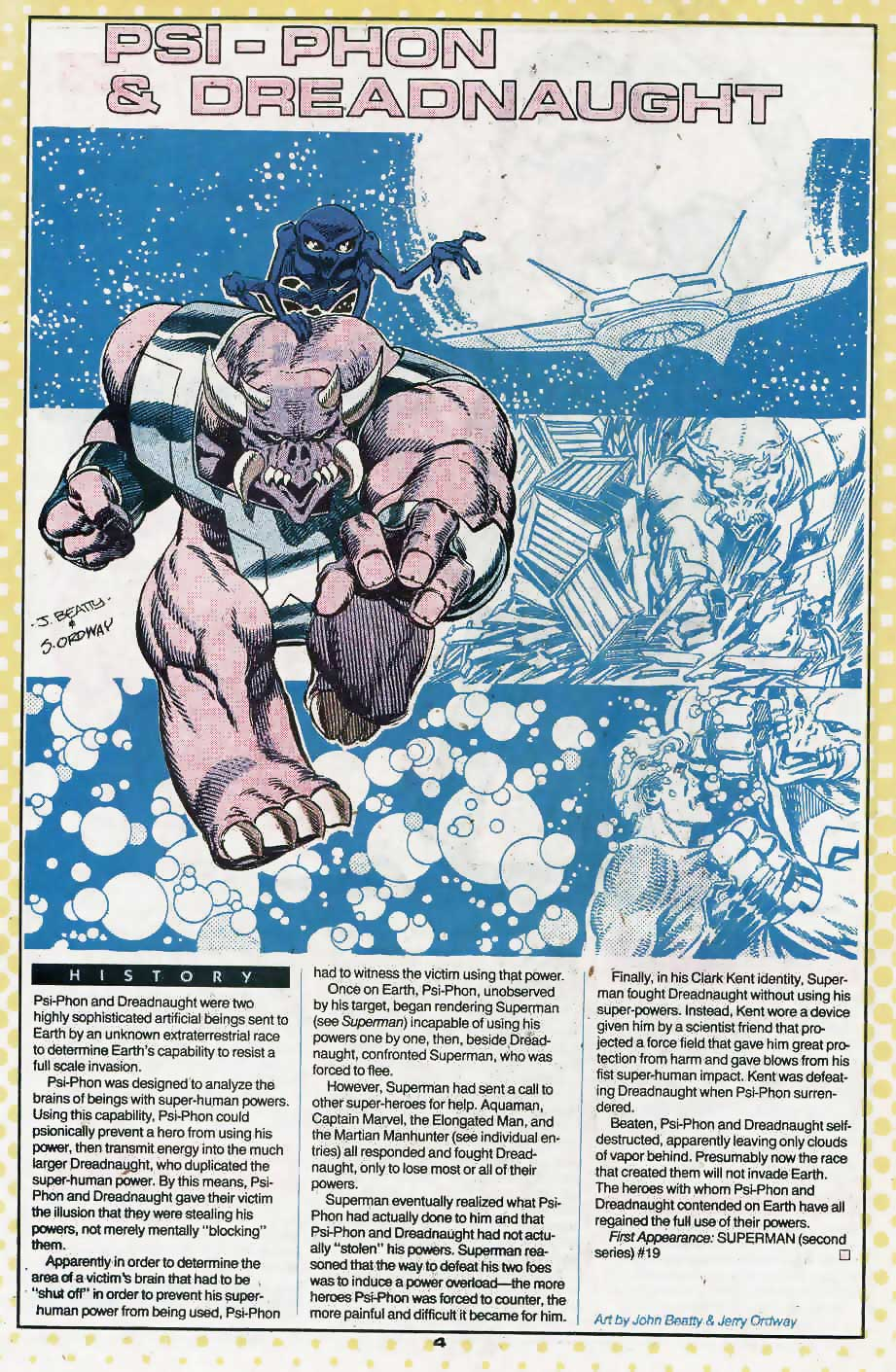 Who's Who Update 88 #3 Psi-Phon and Dreadnaught by John Beatty and Jerry Ordway