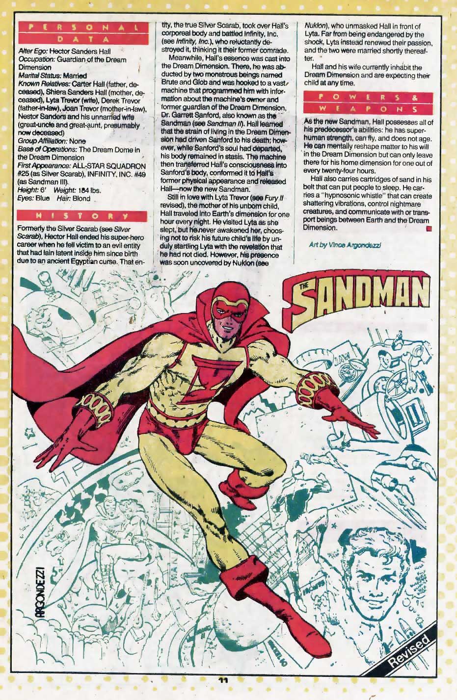 Who's Who Update 88 #3 Sandman III by Vince Argondezzi
