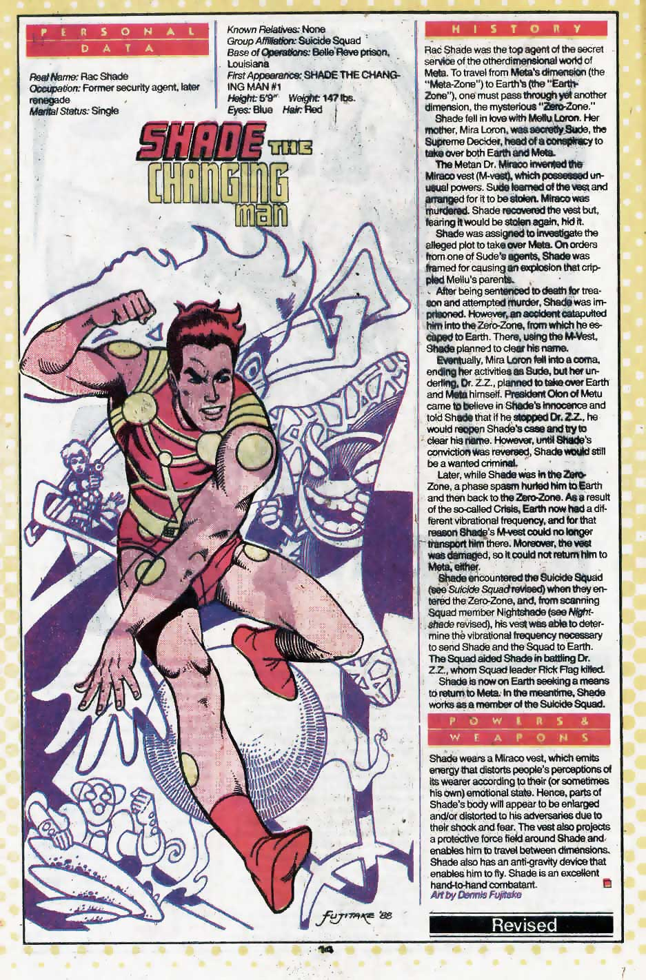 Who's Who Update 88 #3 Shade the Changing Man by Dennis Fujitake