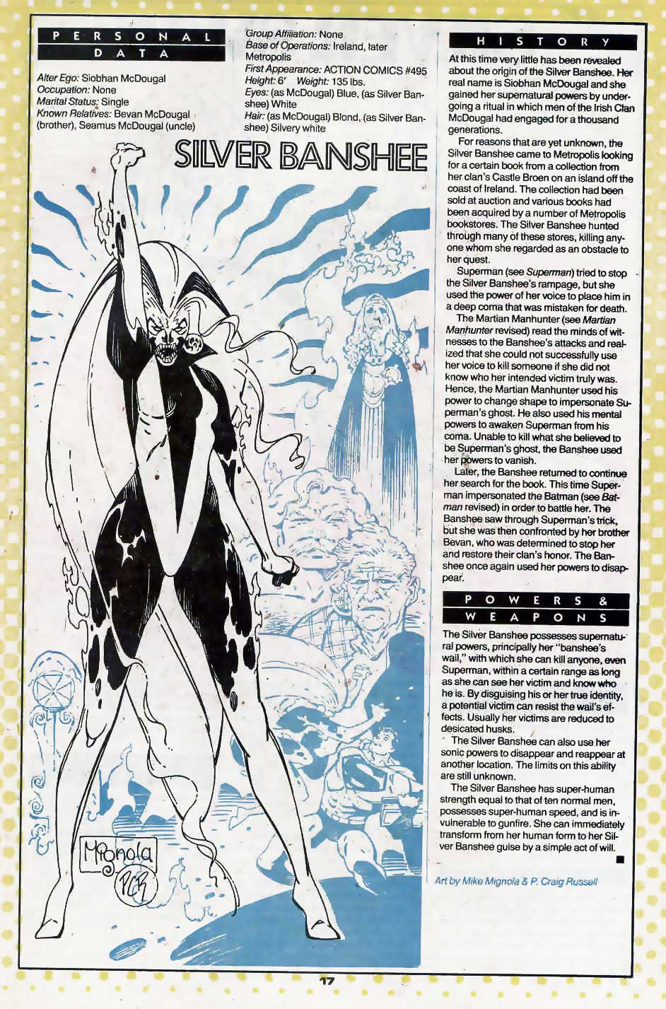 Who's Who Update 88 #3 Silver Banshee by Mike Mignola and P Craig Russell