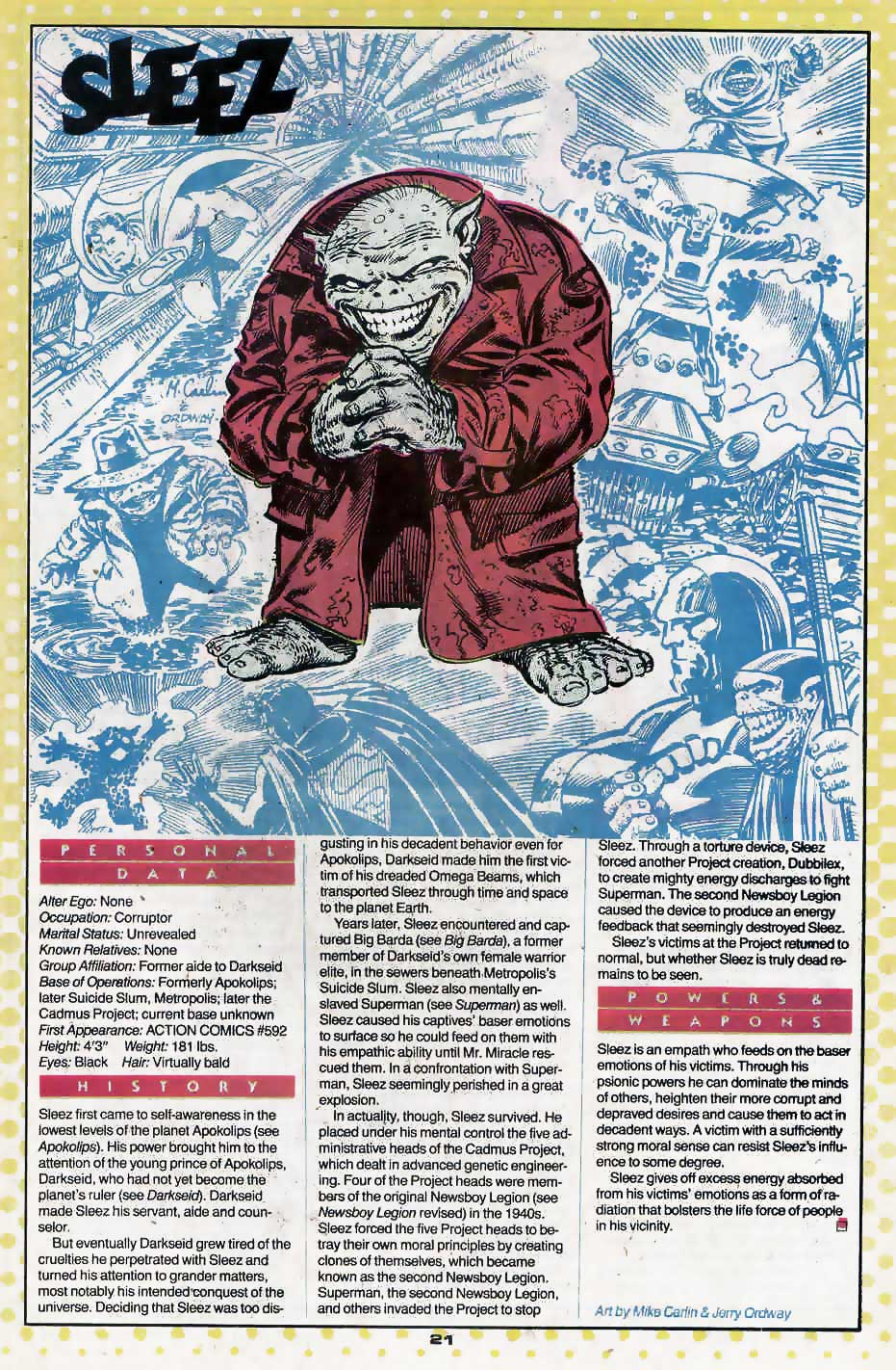 Who's Who Update 88 #3 Sleez by Mike Carlin and Jerry Ordway