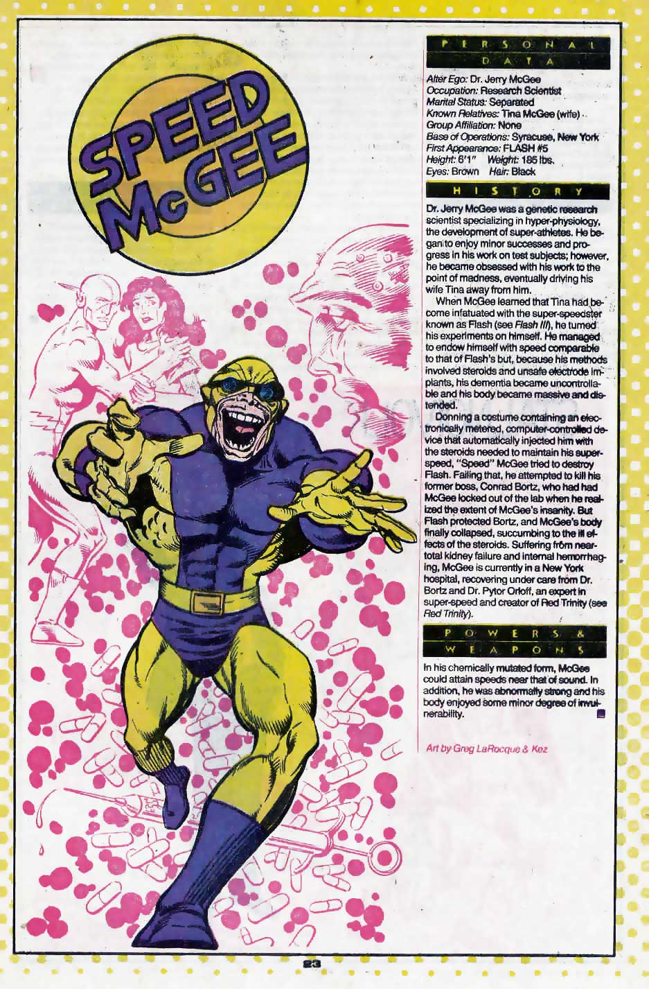 Who's Who Update 88 #3 Speed McGee by Greg LaRocque and Kez
