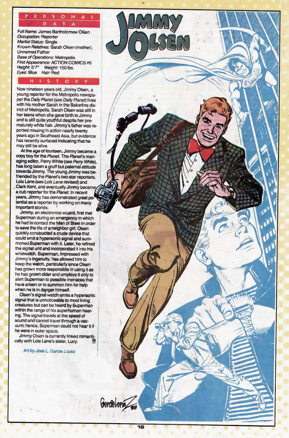 Jimmy Olsen by Jose Luis Garcia Lopez (Praise Be His Name)