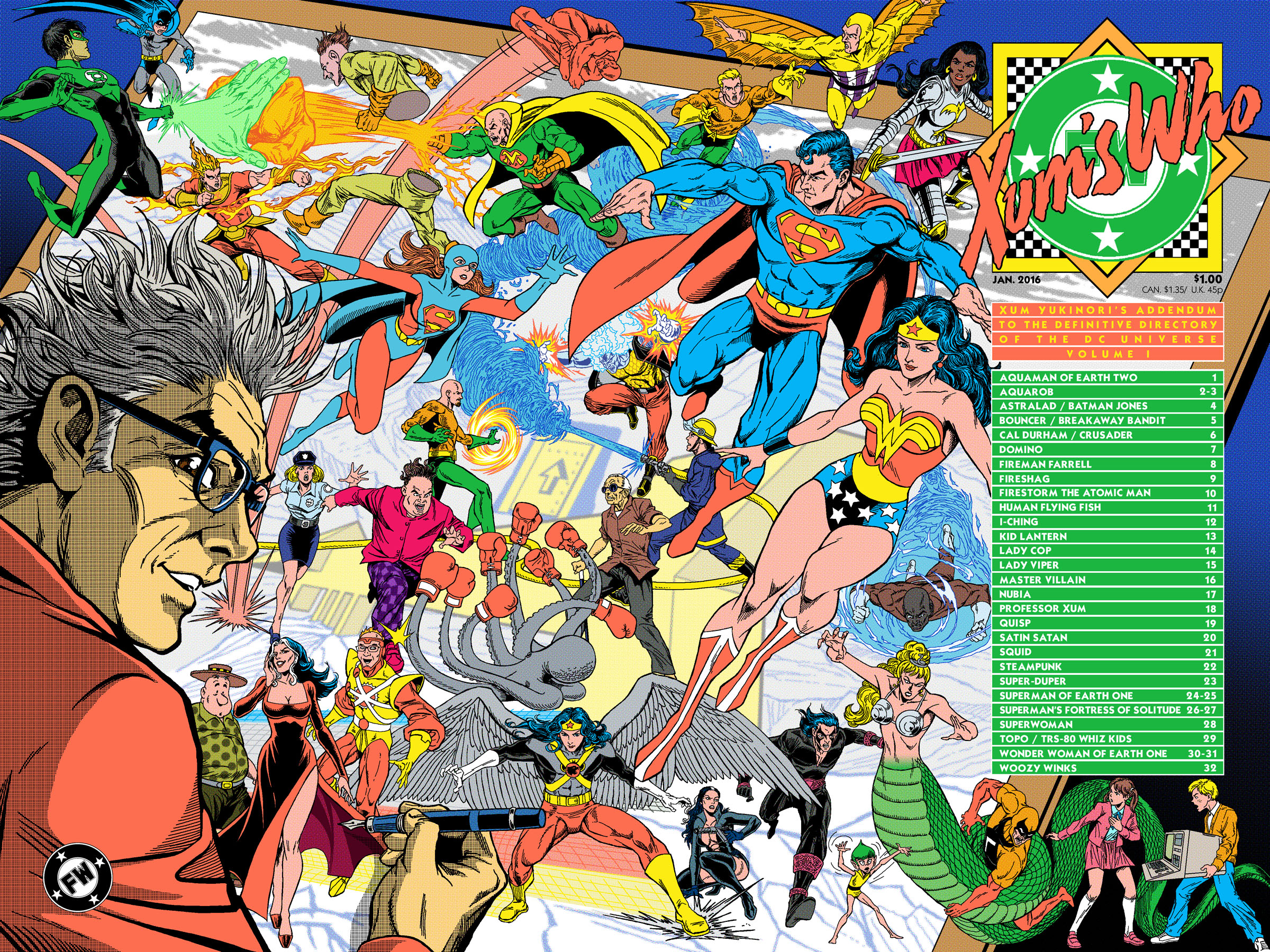 Xum Yukinori's Addendum to the Definitive Directory of the DC Universe Volume 1 comic cover!